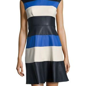 Muse | Vegan Leather Color Block Dress